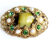 Germany Green Art Glass Brooch Rhinestone Pearl Pin Jewelry 1950s - 1960s Art Glass Vintage Collectible Victorian Style
