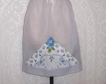 Vintage Half  Apron - hostess apron- hankie apron- mid century- blue organza- hand stitched- DISCOUNT for MULTIPLE apron PURCHASE (apron #4)