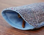 LAST ONE Tweed Eyeglass Case - Soft Glasses Sunglasses Case Made From Vintage Fabric - Gray Tweed and Powder Blue Cotton