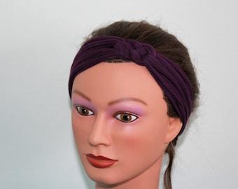 PURPLE Knotted Jersey Headband - T-Shirt Headband - Sailor's Knot Headband - Yoga Headband - purple hairband - workout headband