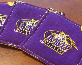 LSU Tigers Coaster Set of 4 Fabric Coasters, LSU Tigers Football Man Cave Coasters Barware Tailgate Drinkware Geaux Tigers Louisiana State