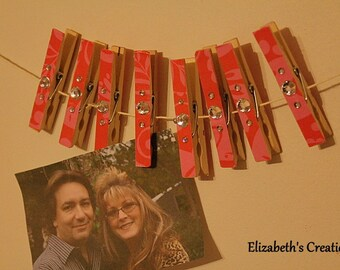 Closthesline Clothespin Photo Hanging Kit FREE SHIPPING Pink Paisley With Rhinestones
