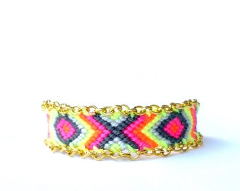 Chain Trimmed Friendship Bracelet. Electric Pink.