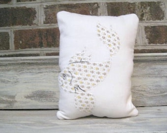 Vintage Appliqued Fish Pillow with  Brown Quilt Backing