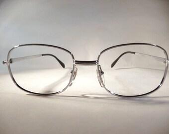 Italian 80s eyeglass frames branded OGZ silver metal circle glasses