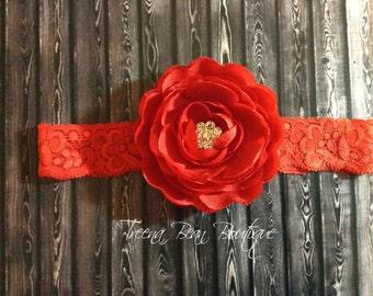 Red Peony headband- lace headband- newborn headband- infant headband- toddler headband-baby headband- Photo Prop
