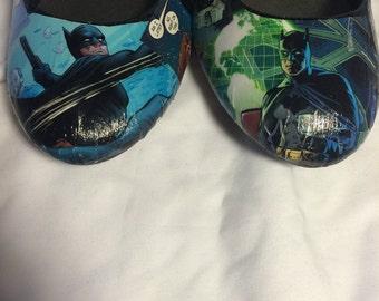 Custom Comic Book Dark Knight Batman Decoupage Shoes (Flats)