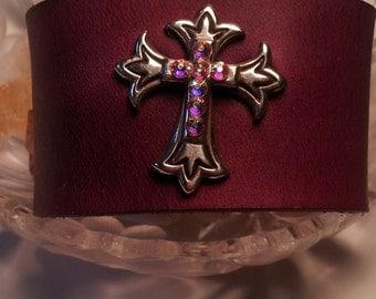 Leather Cuff Purple Cross