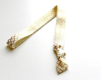 1 Ivory Gold Moroccan Handmade Elastic Headband