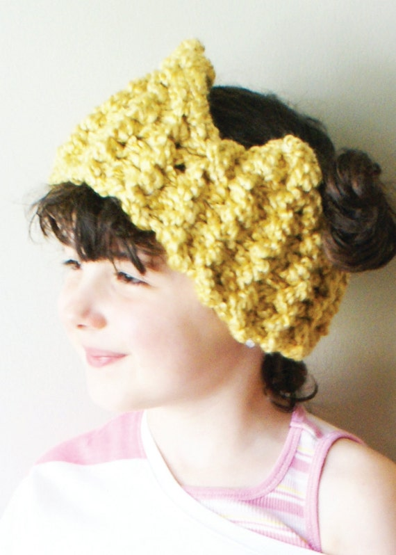 Diy Knitting Pattern Chunky Crown Ear Warmer Headband In