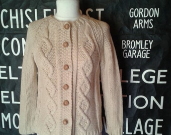 60's Aran Cardigan Womens Small Cable Knit Wool