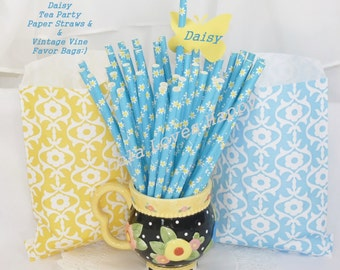 DAISY Tea Party Set of 50 Paper Straws & 50 Favor Bags Daisy Blue Straws and Yellow and Blue Vine Bags Supply Cake Pop sticks Custom Favors