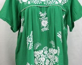 """XXL Mexican Blouse: """"Mariposa Libre"""" by Siren in Green"""