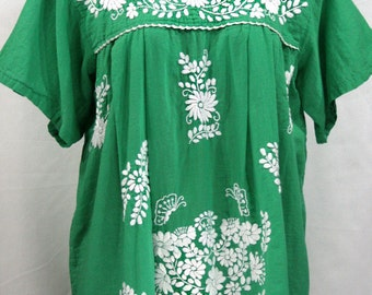 "XXL Mexican Blouse: ""Mariposa Libre"" by Siren in Green"