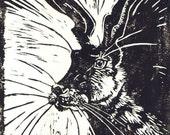 Linoprint Hare Greetings Card -  blank note card