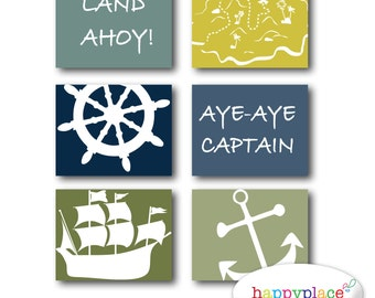 Pirate Wall Art Set of Posters for Boys Bedroom or Nursery. 8x10 or 11x14in Instant Download digital files-Colour 3