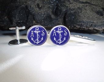Personalized Blue Linen Anchor Cuff Links 20mm Doctor Silver Cufflinks for Him/Men Gift