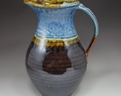 Large Pitcher: Blue Ash and Chocolate Glaze