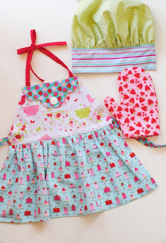 kids apron chef hat oven mitt cupcake cakes tea party. Black Bedroom Furniture Sets. Home Design Ideas