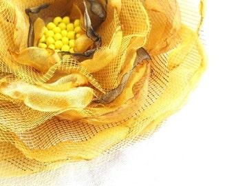 Weddings Hair Accessories Bridal Autumn Fall Gold Yellow Citrus Organza Flower Corsage Hair Pin Headpiece Bride Bridesmaid Flower Girl Hair