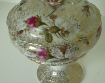 Floral Porcelain Compote/Candy Dish Trimmed in Gold w/Lid