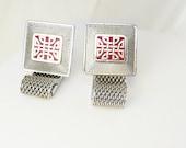 Hickok Red Enamel Chinese Design Cufflinks Vintage Wrap Mesh Asian Christmas Anniversary