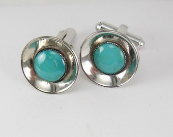 Turquoise Cuff links silver Simplicity Vintage Sterling  Turquoise Cufflinks Elegant design mens womens accessory