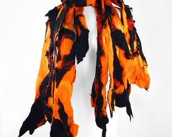 Designer Scarf Felted Scarf Nunofelt Scarf Long Wrap Orange Scarves wild Felt Nuno felt Silk Silkyfelted Eco boho red shawl Fiber Art