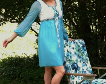 Vintage 60s 70s Turquoise Babydoll Dress