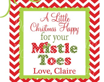 Printable Christmas Tags-Printable Christmas Stickers-Mistle TOES Tag-Christmas Mistletoes Tag Sticker-Nail Polish Favor Tag-Stocking Treat