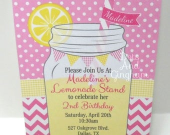 Pink Lemonade Invitation-Lemonade Invitation-Lemonade Invite-Lemonade Party-Mason Jar Lemonade Chevron Invitation-Mason Jar Lemonade Invite