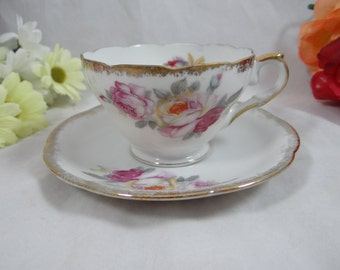 1950s  Vintage Shafford Hand Painted Japanese Rose Teacup and Saucer - Charming Japanese Tea Cup