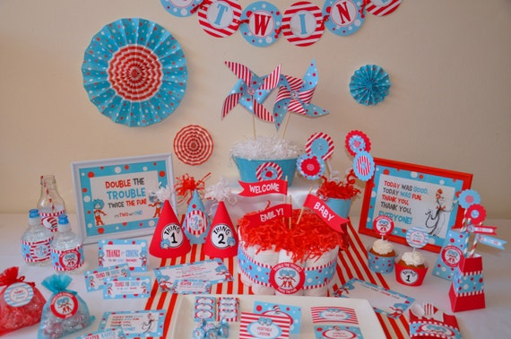 Twins Baby Shower Dr Seuss Thing 1 Thing 2 Inspired Personalized. Concept  ...