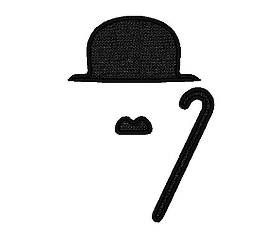charlie chaplin applique style moustache mustache and walking. Black Bedroom Furniture Sets. Home Design Ideas