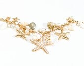Ariel Starfish Seashell and Pearl Charm Bracelet in GOLD
