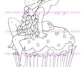 A digital stamp/image instant download.... Cupcake Fairy