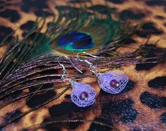 Handmade earrings, Lilac dangling earrings, red christal and tutu net