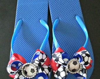 Soccer Bow Flip Flops
