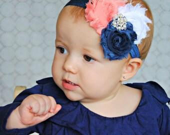 Baby headband, Navy, coral  triple Shabby Headband, Shabby Chic headband, Baby headbands, Baby girl headband, toddler headband