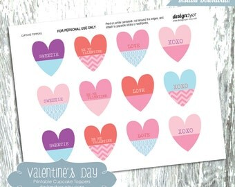 Valentine Cupcake Toppers Printable Colorful Heart Shaped Decorations or Gift Tags