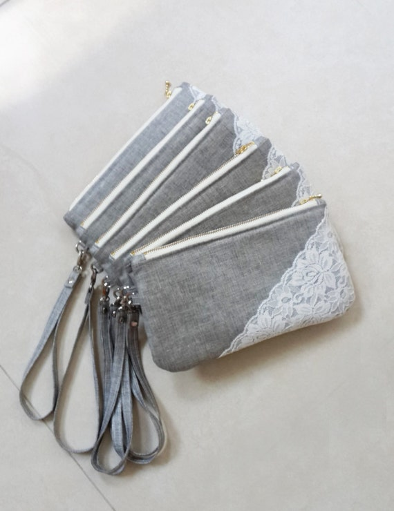 Items Similar To Set Of 7 Grey Bridesmaid Clutches Gray Wedding Clutches Lace Clutch Purse ...