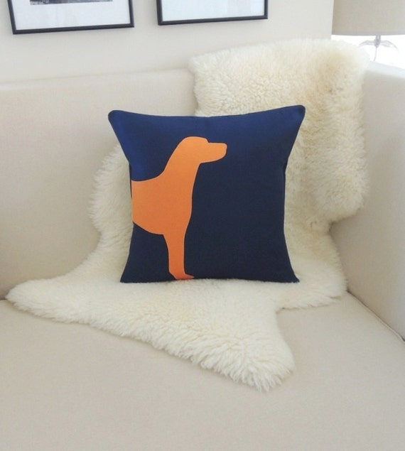 Dog Decorative Pillow Cover Modern Dog Silhouette by VixenGoods