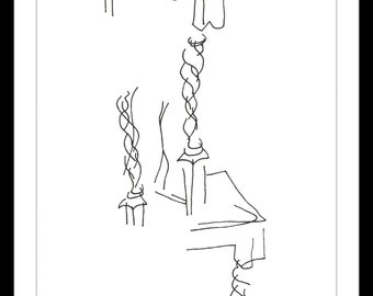 """Original Illustration.""""Dining Room Chair"""" - Pen and ink blind contour drawing of a dining room chair. Very Styalized A4"""