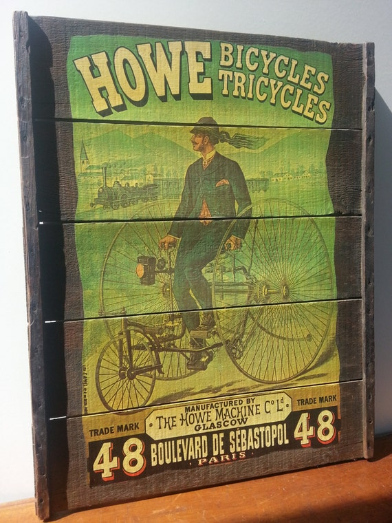 Rare Antique Wood Ad Sign Howe Bicycles And Tricycles Antique
