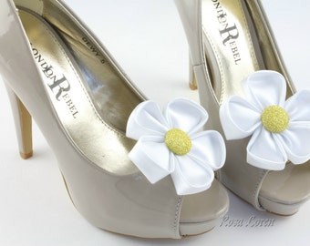 Flower Shoe Clip, Daisy Shoe Clips, Flower Bow Clip Shoes, Daisy Wedding Accessories