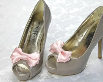Pink Shoe Clip, Pink Bow Shoe Clips, Pink Wedding Accessories Shoes Clip, Pink Bow Clip Shoes