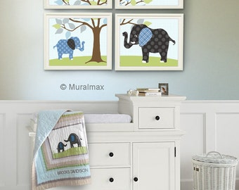 Baby Boy Room, Nursery print, Baby elephant, Blue Green and Gray, Set of 4 prints , Match with Brooks Nursery Bedding Set