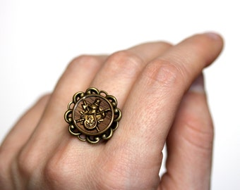 """Coat of Arms Ring, Armor Jewelry, Anchor Ring, Knight Jewelry, Fantasy Gift, Vintage Button - """"Honor Be Thy Guide"""""""