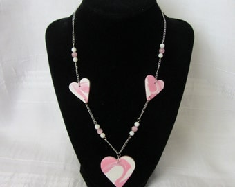 SALE! Pink & White Swirl Heart Necklace