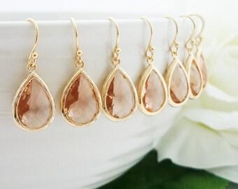 15% OFF SET of 7 Champagne Gold Drop Earrings Bridesmaid Gift Wedding Jewelry Bridal Earrings Peach Glass Dangle Earrings Teardrop Earrings